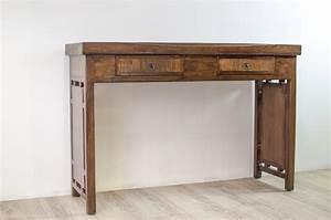 Console En Teck : console 2 tiroirs en teck et bambou madura ~ Teatrodelosmanantiales.com Idées de Décoration