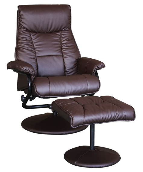 2 espresso faux leather chair and ottoman