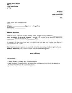 modèle lettre envoi document exemple gratuit de lettre envoi un constat amiable