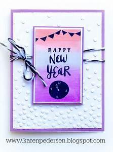 Karen Pedersen  Happy New Year Card With Watercolor Wash