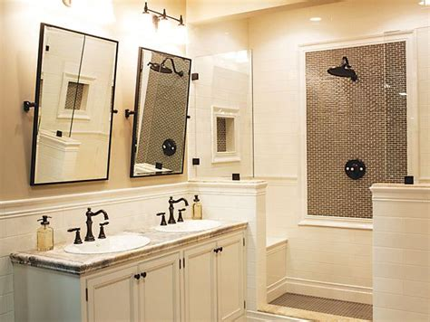Bathrooms With Bronze Fixtures by Rubbed Bronze Fixtures White Vanity White Tile