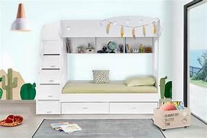 Lit Superposé 1 Place : lit superpos combi blanc ~ Melissatoandfro.com Idées de Décoration
