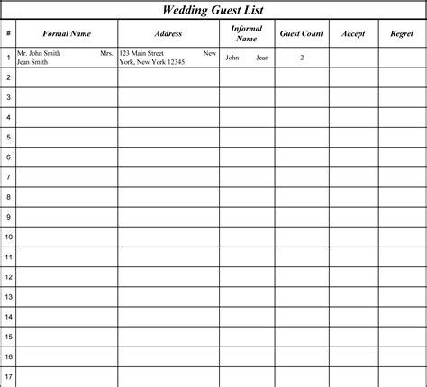 images  wedding guest list worksheets