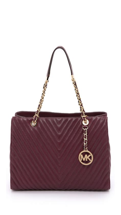 michael kors quilted bag michael michael kors susannah quilted tote in purple lyst