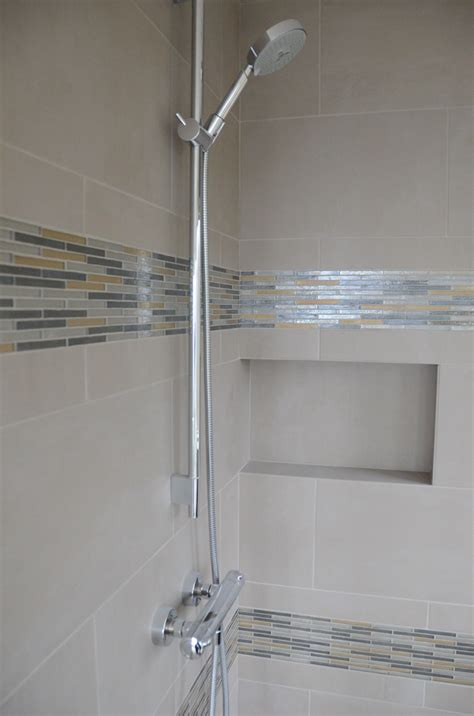 shower tile with glass accent showers breitzke carpentry