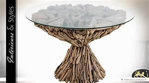 Table Ronde Verre Et Bois : table basse ronde bois flott et plateau en verre tremp 72 cm int rieurs styles ~ Teatrodelosmanantiales.com Idées de Décoration