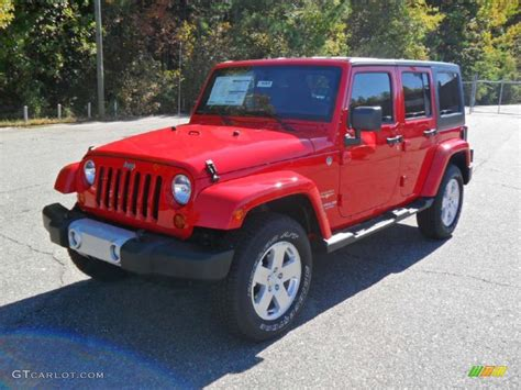 jeep sahara red flame red 2011 jeep wrangler unlimited sahara 4x4 exterior