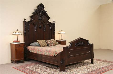 sold victorian  antique carved walnut queen size