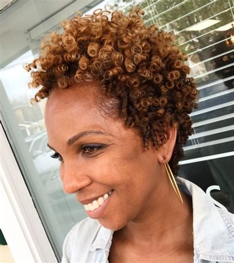older women  caramel highlights curl hair short