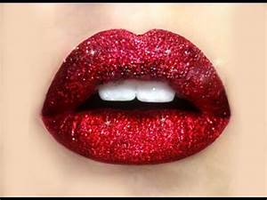 How To: Glitter Lips , Red Lips Glitter Makeup Tutorial ...