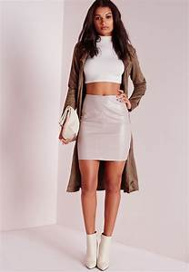 Missguided Faux Leather Mini Skirt Grey in Gray | Lyst