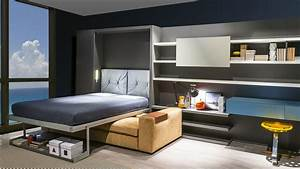Chambre ado petit espace cuisine brique et bois deco for Idee deco cuisine avec lit escamotable
