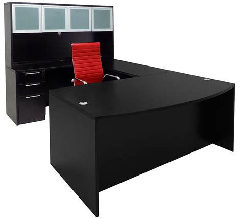 black home office desk with hutch black conference u shaped office desk with hutch