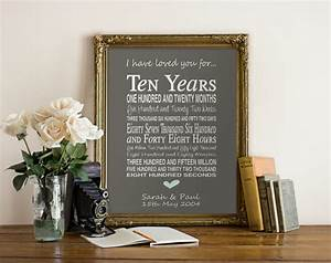 10th anniversary gift personalised by pinkmilkshakedesigns With 10th wedding anniversary gift