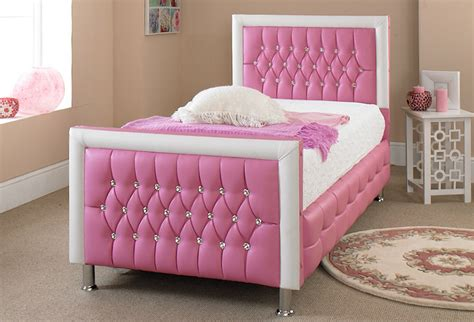 Pink Leather Bed 3ft *new Exclusive Design Perfect For Any