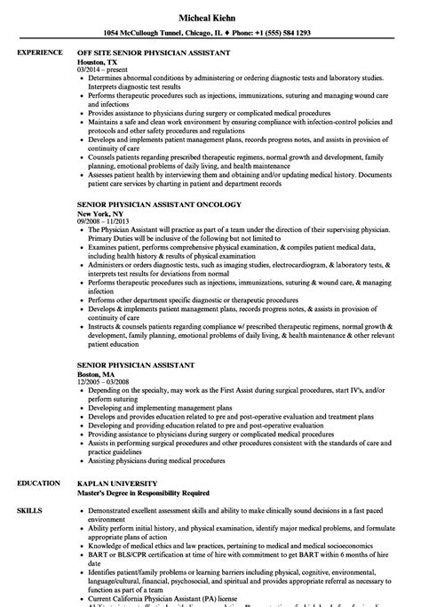 Physician Assistant Resume Templates by Senior Physician Assistant Resume Sles Velvet