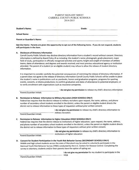 sample student sign  sheet templates   documents