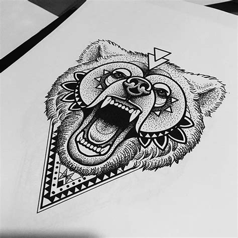 gorgeous dotwork style screaming grizzly  geometric