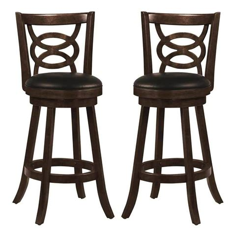 Armchair Bar Stools by Swivel Wood Dining Chairs 29 Quot H Bar Stool Set Of 2 Espresso