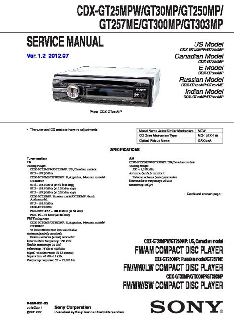sony cdx gt25 cdx gt29 cdx gt29ee service manual view online or download repair manual