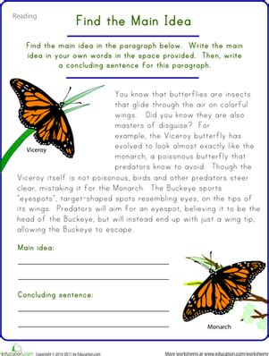find the main idea viceroy butterfly worksheet education