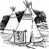 Coloring Native American Tepee sketch template