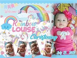 Example Of Birthday Invitation Rainbow Unicorn Sample Tarpaulin Template Design Hello