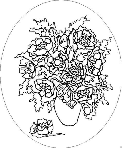 viele blumen  vase ausmalbild malvorlage blumen