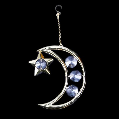 gold moon and stars christmas ornament with clear colored