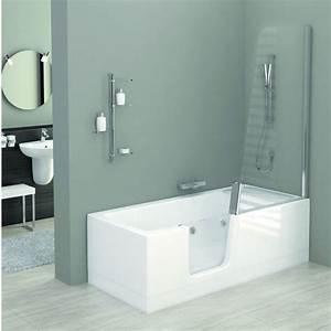 Baignoire douche avec porte d39acces vitree kineduo for Baignoire à porte avec douche