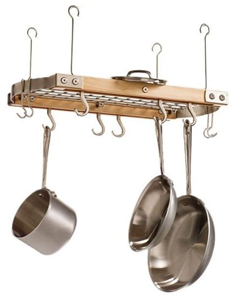 small maple ceiling pot rack modern pot racks and