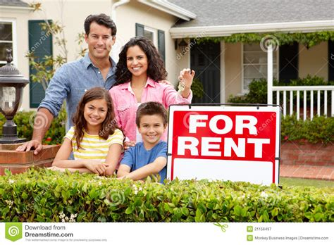 Hispanic Family Outside Home For Rent Stock Image - Image ...