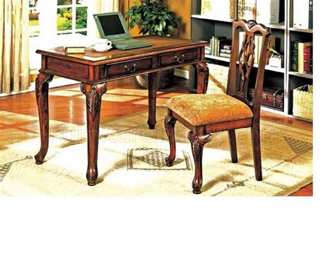 brown cherry finish traditional writing desk w chair