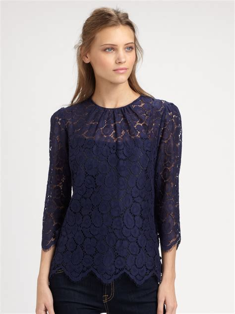 lace blouse milly lace blouse in blue navy lyst