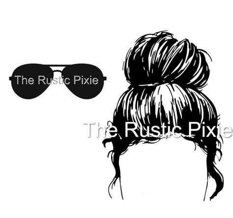 This free svg cut file comes in a single zip file with the following file formats: Messy Bun with sunglasses SVG / svg / hair bun SVG / | Etsy