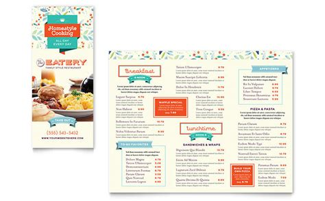 Menu Brochure Template Word by Family Restaurant Take Out Brochure Template Design