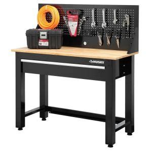 husky  ft solid wood top workbench  storage gs