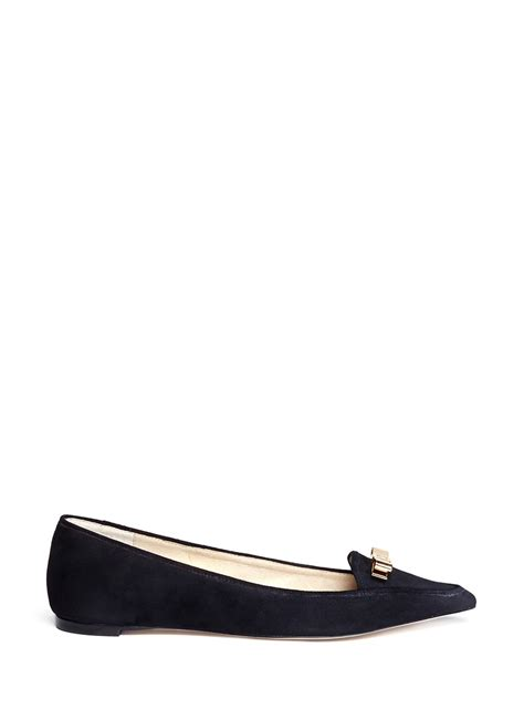 bow pointed flats lyst michael kors vivienne bow pointed flats in black