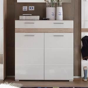 Schuhkommode Weiß Hochglanz : schuhschrank setone schuhkommode garderobe in eiche san remo und wei hochglanz ebay ~ Watch28wear.com Haus und Dekorationen