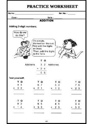 addition handout  images worksheets math