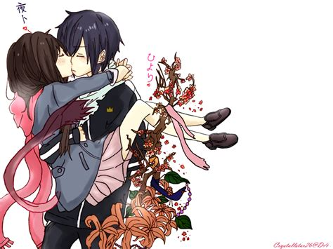 Noragami Iki Hiyori And Yato Couple Kissu Colored By