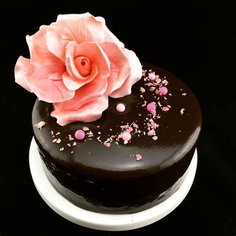 cake glaze elegant chocolate mirror glaze cake with pink sugar rose 100 vegan naughty cakes