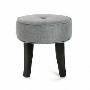 Tabouret 4 Pieds : tabouret bas rond 4 pieds tissu gris versa buttons ~ Teatrodelosmanantiales.com Idées de Décoration