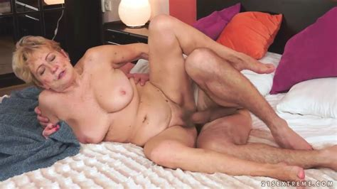 Blonde Horny Hairy Pussy Granny Takes A Young Cock Fuck
