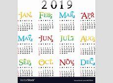 Calendar planner happy new year 2019 Royalty Free Vector