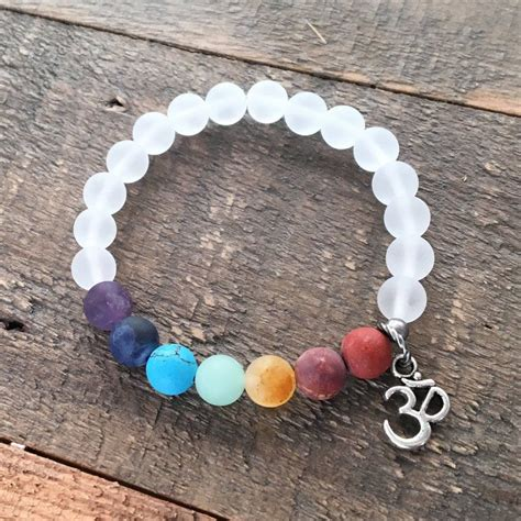 Matte Gemstone Chakra Bracelet With Crystal Quartz And Om