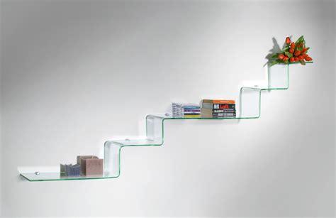 mensole moderne step mensole design in vetro curvato trasparente 100 cm