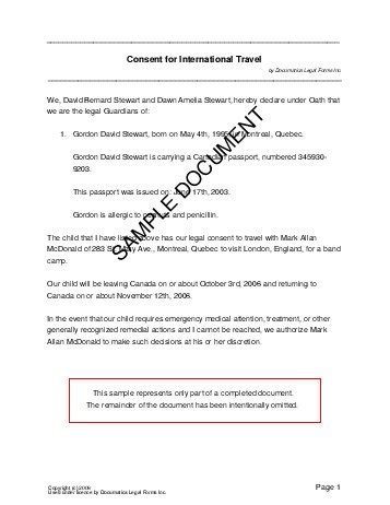 sle consent letter for children travelling abroad with one parent child travel consent canada templates 76450