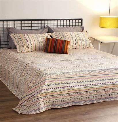 Cotton Yellow Bed Sheet Mosaic Bedsheet Pillow