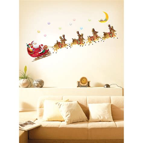 meijer home wall decor santa and reindeer sleigh wall decals just 10 19 reg